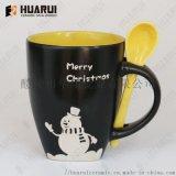 台湾KIRIN麒麟定制圣诞节礼品陶瓷杯带勺马克杯