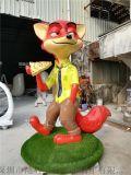 定制设计疯狂动物城卡通狐狸雕塑为披萨店代言宣传