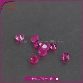 梧州天然红宝石裸石厂家直销圆形1.25mm宝石工艺品首饰镶嵌量大优