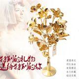 年货创意礼品摆件镀金木槿花 家居卧室书架装饰品 五金金属工艺品