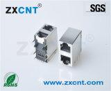 ZXCNT直销RJ45双层2X1无灯网口插座连接器