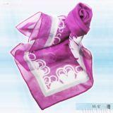 桃紫白边丝巾(S-013)