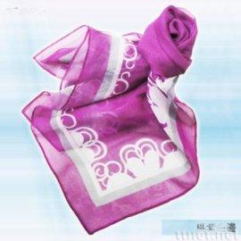 桃紫白邊絲巾(S-013)