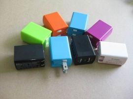 UL認證 雙USB充電器 折疊美規插腳電源充電器 美規插頭充電器 智慧手機充電器