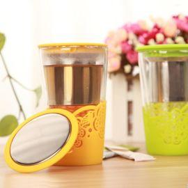 隔热防滑双层花鸟玻璃杯 带雕刻镂空硅胶杯套双层玻璃杯