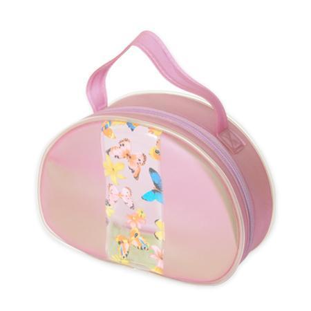 PVC拉鍊袋粉色花紋手提袋化妝包