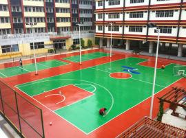 广西来宾塑胶篮球场建设 硅PU地坪漆施工 康奇体育