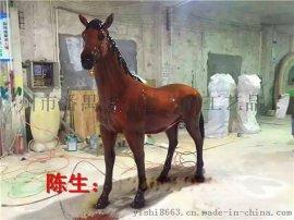 玻璃钢仿铜马雕塑 仿真马圆雕 动物彩绘雕塑工厂