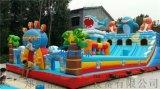 可爱精致儿童鲨鱼充气滑梯火爆安徽宣城市游乐广场