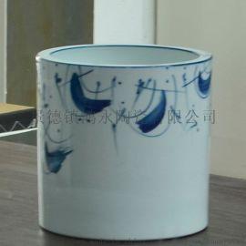 青花陶瓷笔筒景德镇定制家居软装装饰瓷雕塑瓷礼品瓷