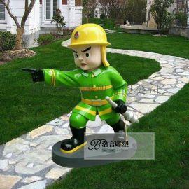 彩绘消防人物公仔玻璃钢消防人物公园户外落地装饰
