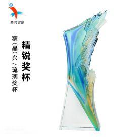 琉璃獎杯定制廠家 企業高管創意琉璃獎杯紀念擺件