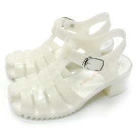行之美305时尚舒适夏季坡跟果冻水晶女式包头环扣凉拖鞋