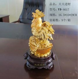 厂家大量热销绒纱金金鸡摆件、生肖摆件、办公装饰礼品、鸡年礼品
