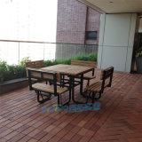 露臺塑木連體桌椅組合簡約現代戶外桌椅組合帶靠背椅子