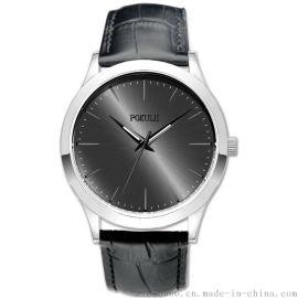 原装日本机芯不锈钢壳真皮表带石英手表