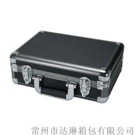 定做鋁箱手提工具箱鋁合金資料箱全黑文件箱