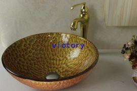 手绘艺术钢化玻璃洗手盆 洗漱盆 台上盆 面盆 钢化玻璃盆 N-110