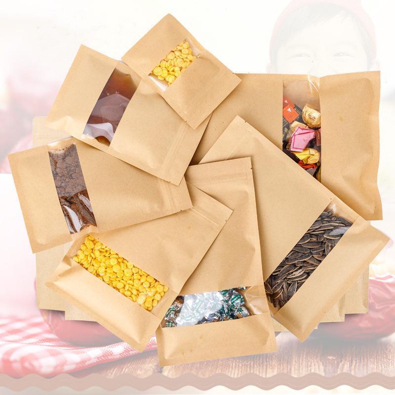 厂家直销牛皮纸袋定做自立拉链袋干果开窗自封袋真空食品包装袋