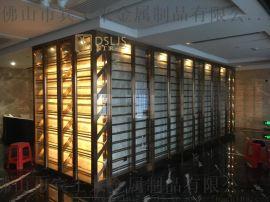定做黑钛不锈钢红酒柜拉丝面酒柜餐厅不锈钢酒架定制