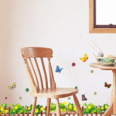 特价 可移除pvc墙贴 客厅沙发电视背景贴纸 地脚线梦幻粉色花壁纸