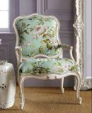 新款欧式美式实木沙发椅田园花布艺人沙发餐椅新古典复古做旧沙发美若婳家具高档家具定制a07