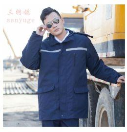 冬季加厚加绒保暖棉大衣保安服男防寒服铁路制服执勤加长安保工作