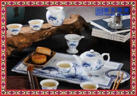 高档骨瓷茶具 釉下青花瓷茶具 七头茶具批发价格 景德镇茶具厂