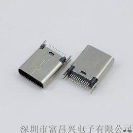 USB 3.1 TYPE C 母座 夹板式0.8(高度10.5MM)180度插板