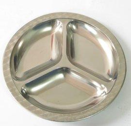 不锈钢快餐盘三格圆形