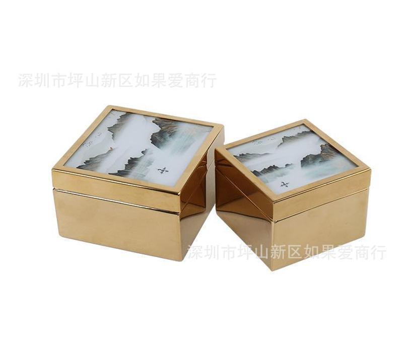 不锈钢金属金色正方形山水玻璃首饰收纳盒样板间摆件欧式软装饰品