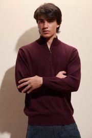 拉鍊圓領毛衫(M0012)