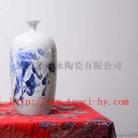 青花骏马手绘瓷瓶 景德镇陶瓷 酒店陈设 陶瓷摆件