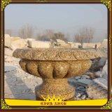 天然石盆。大理石花盆,庭院別墅花鉢