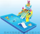 四川多种好玩的充气水滑梯搭在支架水池就是水乐园