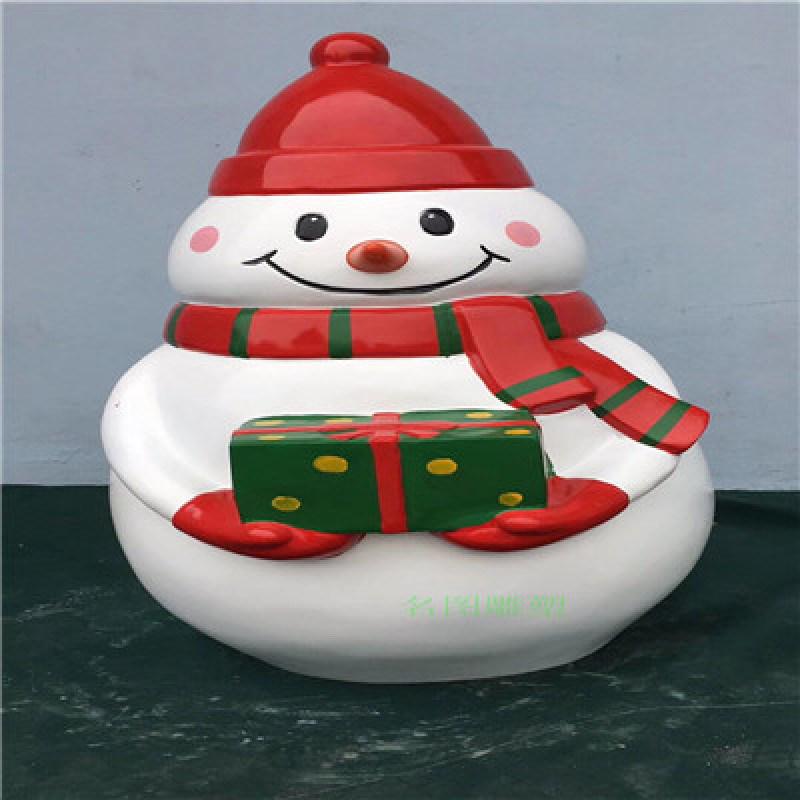 圣诞主题玻璃钢雪人雕塑、佛山创意玻璃钢卡通雪人雕塑