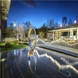 广场镂空发光圆环雕塑 镜面不锈钢圆环雕塑