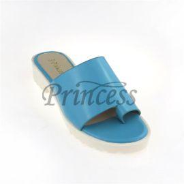 PrincessD0026夏季新款PU皮低跟鱼嘴  女式凉拖鞋