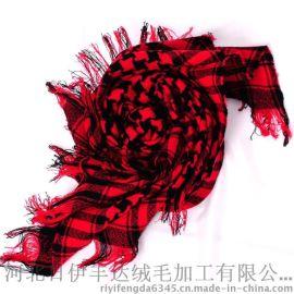2015新款百搭大方巾秋冬季OL韩版潮格子控100%纯羊毛围巾女士