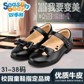 四季熊黑色**皮鞋蝴蝶结圆头可爱公主鞋气质学院风学生演出鞋子