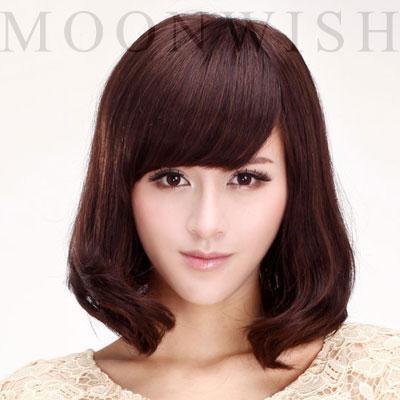 夢唯詩moonwish全手織真人發假髮醫療級時尚中長捲髮5011