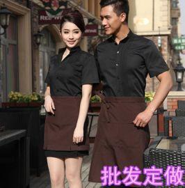 批發定制酒店服裝短袖男女服務員中西餐廳飯店制服工作服定做logo