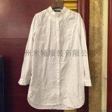 现货米娅XGLS夹棉衬衫全棉白色毛领衬衣Y-VOVIE印花衬衫打底衫长款