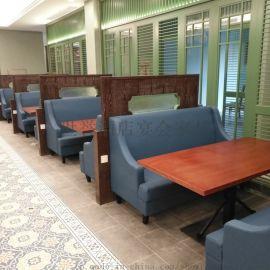 上海时尚餐厅实木框架沙发卡座火锅店圆桌半圆沙发