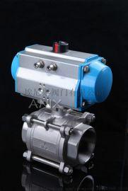 材质316 304三片式内螺纹气动球阀双作用、单作用气缸