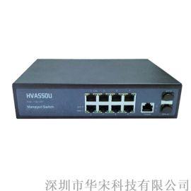 千兆2光8电光纤环网交换机网络安防监控交换机