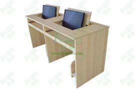 湖南翻转电脑桌 株洲税务局会议桌 隐藏显示器电脑嵌入式翻转桌