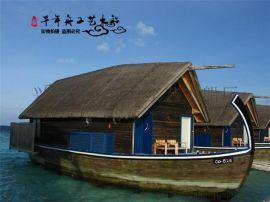 马尔代夫水上船屋定做 手工马尔代夫画舫 厂家定制各类水上旅游餐饮休闲木船