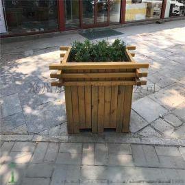 保定花箱花盆户外木制花箱园林种植花盆街道隔离防腐花箱方形花盆