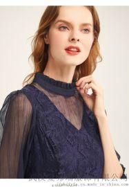 高端品牌服装拿货几折慕之淇拼接印花连衣裙厂家